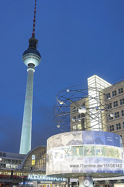 Germany  Berlin  Alexanderplatz  illuminated television tower and world clock