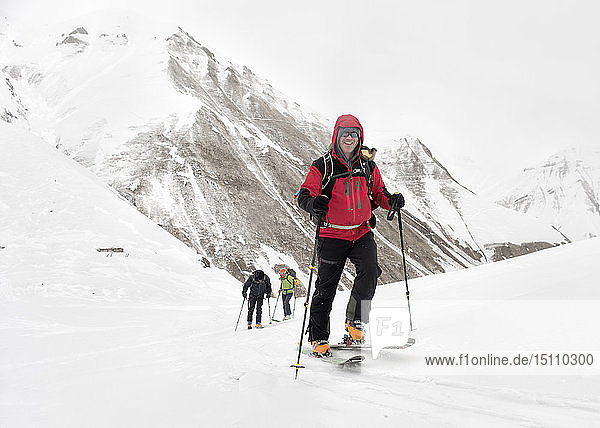 Georgia  Caucasus  Gudauri  confident man on a ski tour