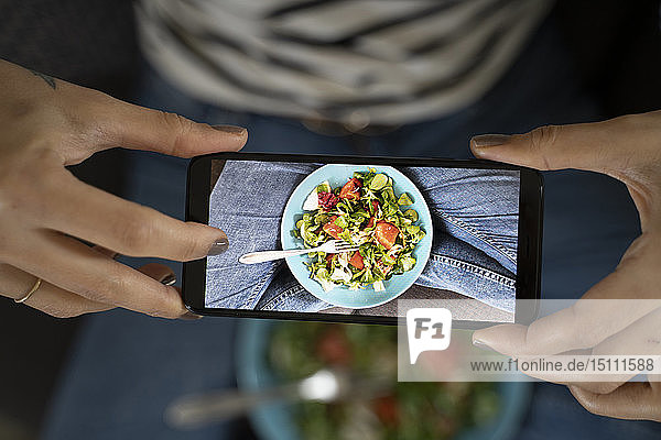 Woman's hands holding smartphone  taking picture of salad