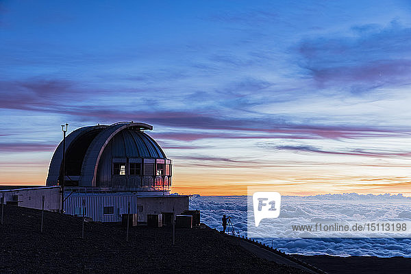 USA,  Hawaii,  Mauna Kea volcano,  telescopes at Mauna Kea Observatories at sunset
