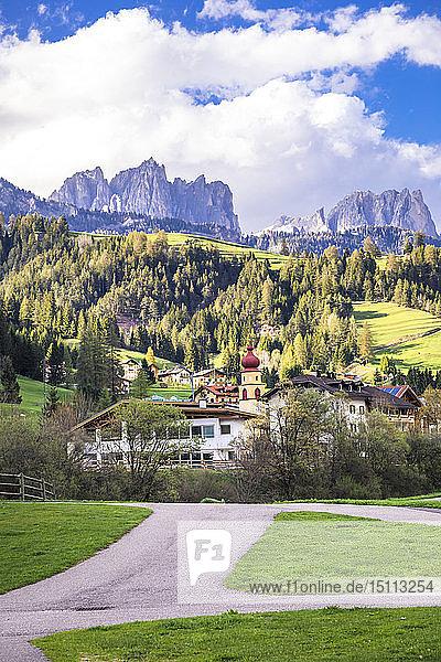 Italy  Trentino Alto Adige  Soraga  view of the village and Dolomites mountains