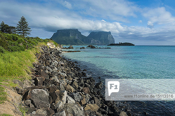 View of Mount Lidgbird and Mount Gower in the background on Lord Howe Island  New South Wales  Australia