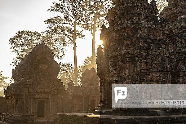 Banteay-Srei-Tempel bei Sonnenuntergang  Angko  Siem Rea  Kambodscha