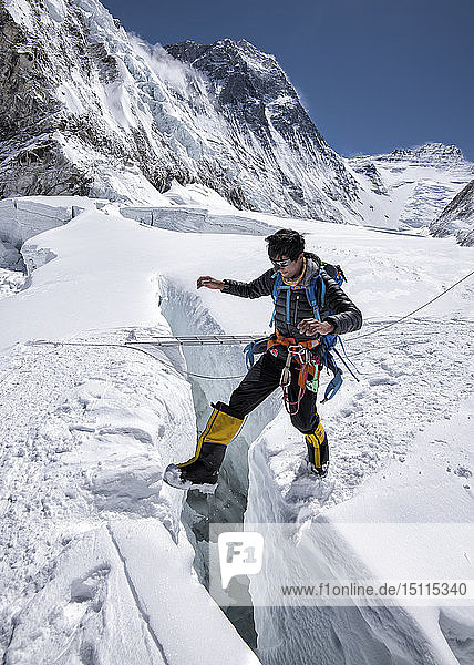 Nepal  Solo Khumbu  Everest  Mountaineer at Western Cwm