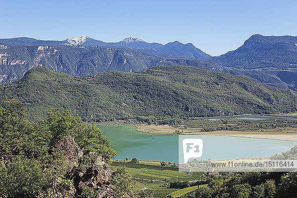 Italy  South Tyrol  view over vineyards and Kalterer See with Leuchtenburg Castle