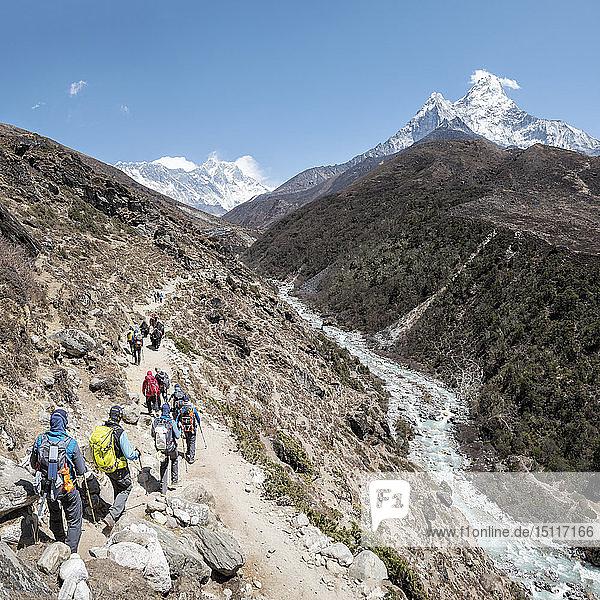 Nepal  Solo Khumbu  Everest  Gruppe von Bergsteigern  die in den Bergen wandern