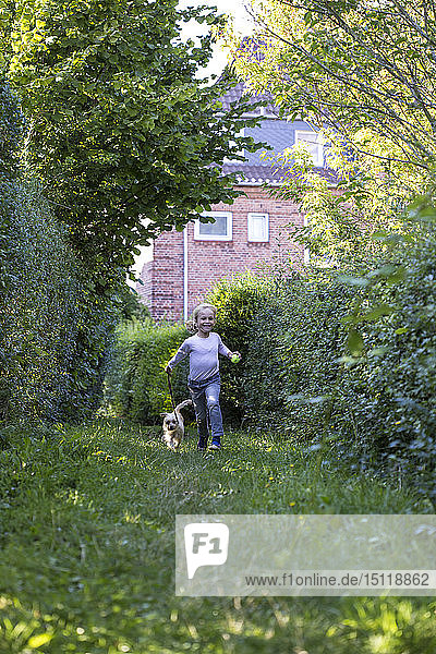 Kleines Mädchen rennt mit ihrem Mischling auf einer Wiese