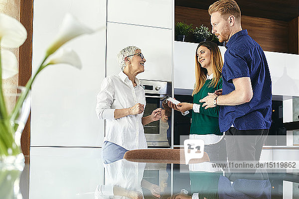 Couple shopping for a new kitchen in showroom