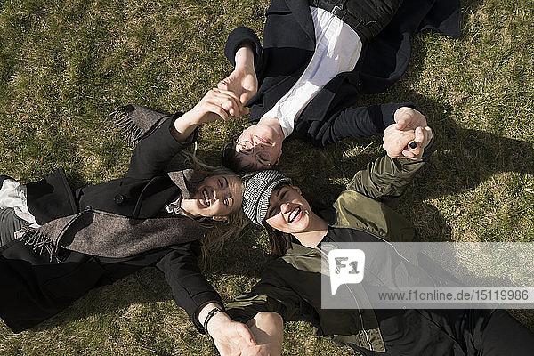 Gruppe glücklicher junger Frauen  die im Gras liegen und sich an den Händen halten