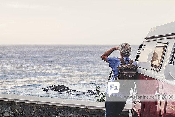 Älterer Mann reist in einem Tiertransporter  Blick auf das Meer  Rückansicht