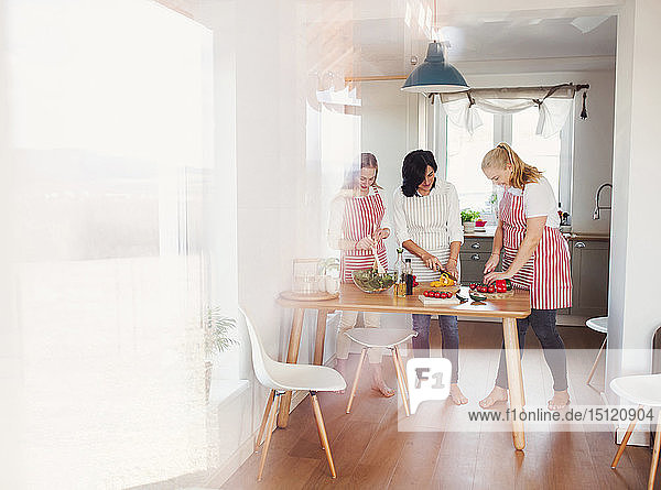 Mother and daughters standing in kitchen  preparing food  chopping vegetables