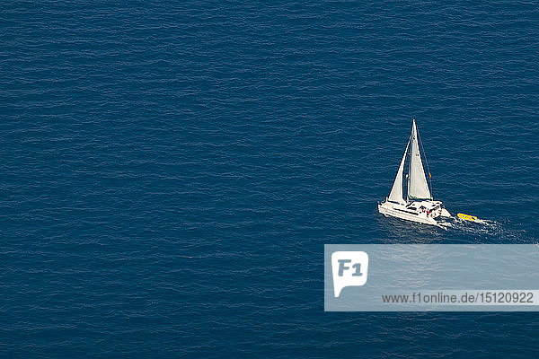 Aerial view of lonely boat,  Great Barrier Beach,  Queensland,  Australia