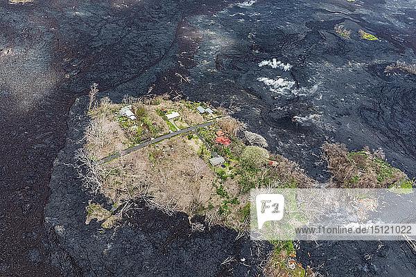 USA  Hawaii  Big Island  Luftaufnahme der Auswirkungen des Vulkanausbruchs im Jahr 2018