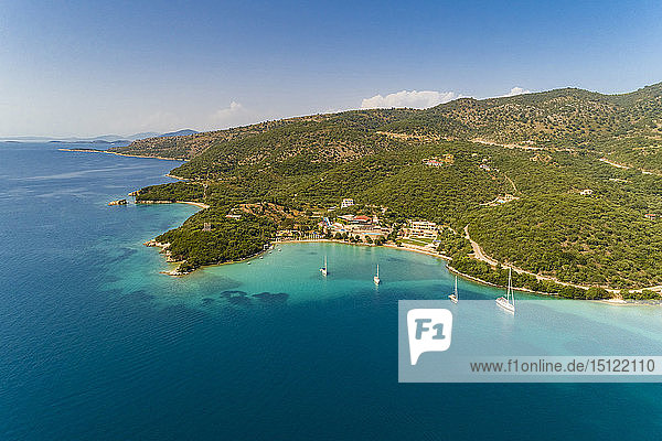 Greece  aerial view of small bay at Syvota
