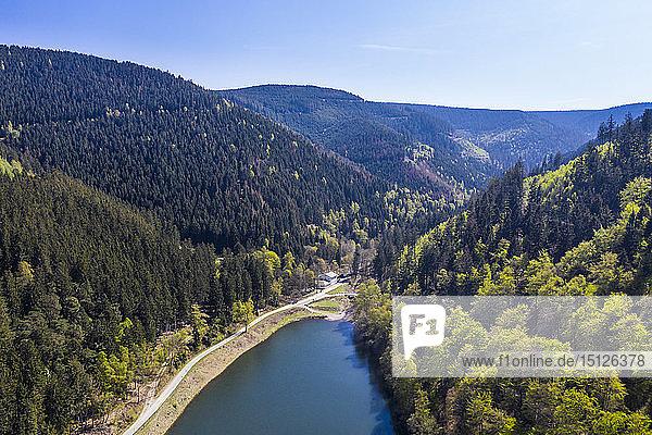 The Upper Harz Water Regale  taken by drone  UNESCO World Heritage Site  Goslar  Lower Saxony  Germany  Europe