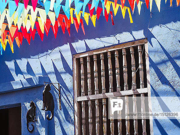 Colorful flags and a blue building with a cat sign  Getsemani barrio  Cartagena  Colombia  South America