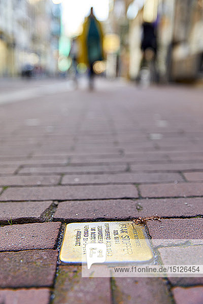 Stumbling Stones (Stolpersteine)  Holocaust memorial plaques in front of the victims last home  Nieuwe Hoogstraat  Amsterdam  North Holland  The Netherlands  Europe