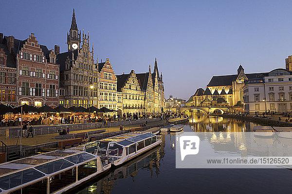 River Leie in Ghent  East Flanders  Belgium  Europe