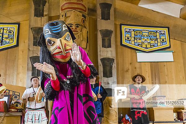 Native dancers in traditional Haida dancing regalia  Old Masset  Haida Gwaii  British Columbia  Canada  North America