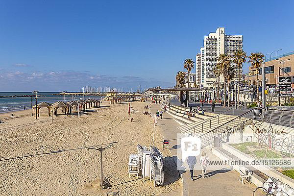 View of hotels and promenade on Hayarkon Street  Tel Aviv  Israel  Middle East