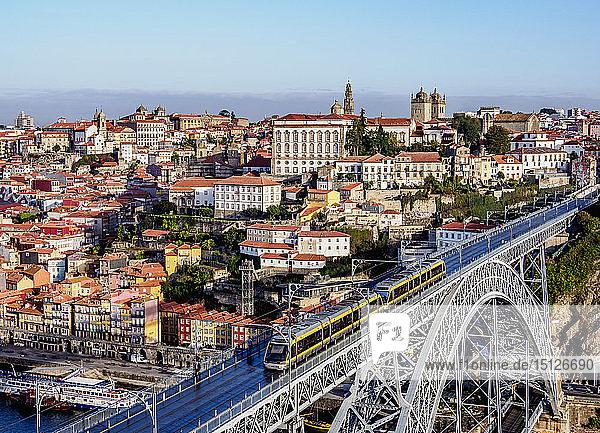 Dom Luis I Bridge  elevated view  UNESCO World Heritage Site  Porto  Portugal  Europe