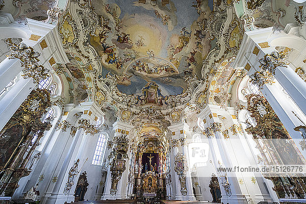 Rococo style paintings on the ceiling of the Pilgrimage Church of Wies  UNESCO World Heritage Site  Steingaden  Bavaria  Germany  Europe
