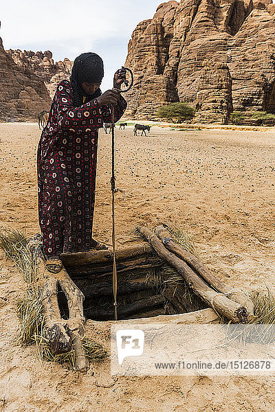 Bedouins pulling water in a beautiful rock amphitheatre in the Ennedi plateau  UNESCO World Heritage Site  Chad  Africa