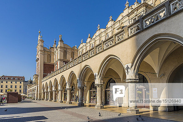 Cloth Hall in the main square  Rynek Glowny  in the medieval old town  UNESCO World Heritage Site  Krakow  Poland  Europe