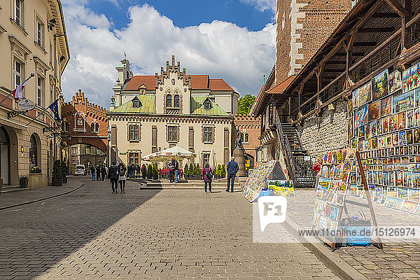 A colourful outdoor gallery in the medieval old town  UNESCO World Heritage Site  Krakow  Poland  Europe