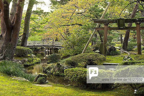 Hanambashi Bridge and a stone gate surrounded by autumn foliage in the Kenrokuen Garden  Kanazawa  Ishigawa  Japan  Asia
