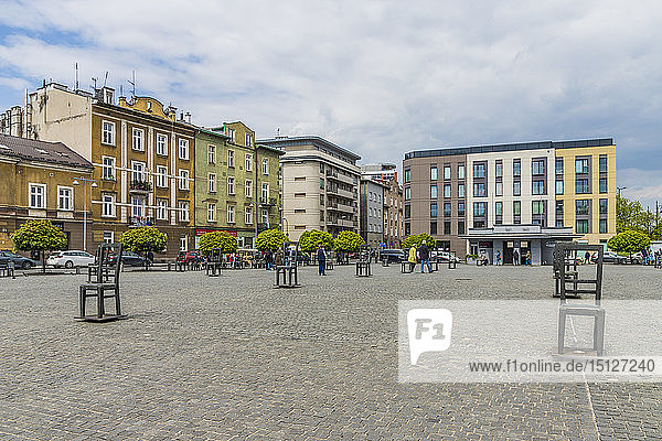 Heroes Square in the former historical Jewish ghetto in Podgorze  Krakow  Poland  Europe