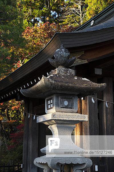 A stone lantern near the Sakurayamu Hachiman-gu Shrine in Takayama  Japan  Asia