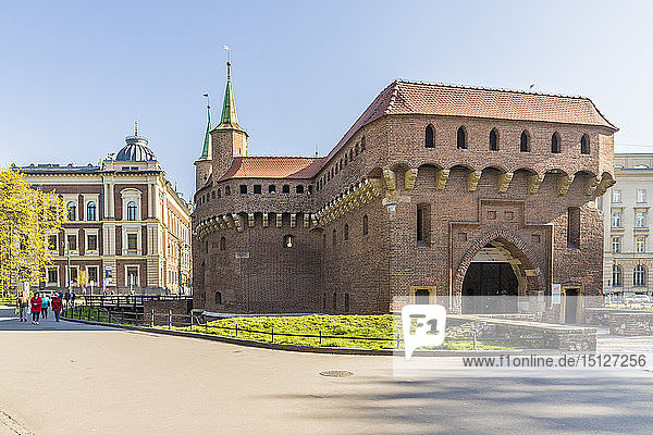 The Barbican in the medieval old town  UNESCO World Heritage Site  Krakow  Poland  Europe