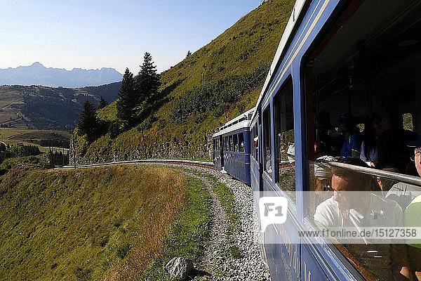 The Mont Blanc Tramway (TMB)  the highest mountain railway line in France  French Alps  Saint-Gervais  Haute-Savoie  France  Europe