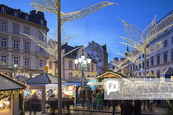 Christmas Market at dusk  Wiesbaden  Hesse  Germany  Europe