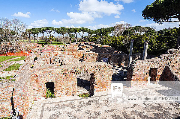 Terme di Nettuno (Baths of Neptune)  Mosaics of Neptune  Ostia Antica archaeological site  Ostia  Rome province  Lazio  Italy  Europe