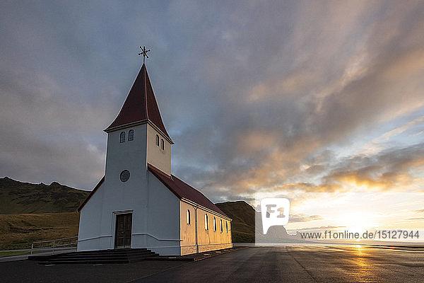 Vik church at sunrise  near Vik  South Iceland  Iceland  Polar Regions