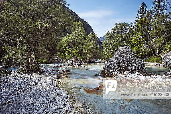 Soca River in spring  near Bovec  Slovenia  Europe