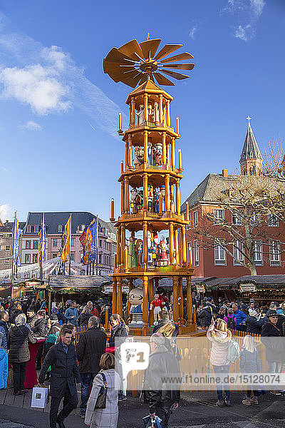 Christmas pyramid at Christmas Market  Mainz  Rhineland-Palatinate  Germany  Europe