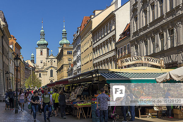 Havelska Market in the old town with Church of St. Gall in the background  Prague  Bohemia  Czech Republic  Europe