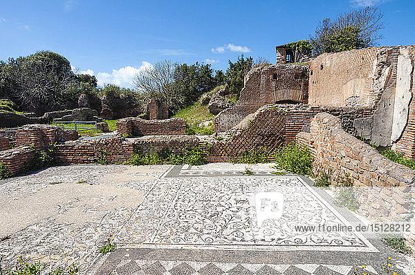 Mosaic of Medusa  Block of Bacchus and Arianna  Ostia Antica archaeological site  Ostia  Rome province  Lazio  Italy  Europe