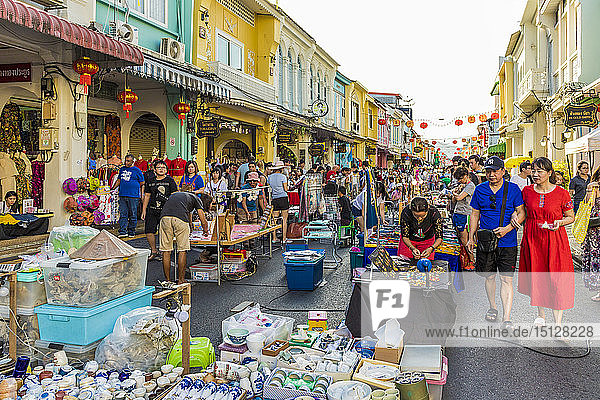 The famous Walking Street night market in Phuket old Town  Phuket  Thailand  Southeast Asia  Asia
