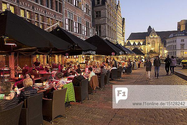 Restaurants along the River Leie in Ghent  East Flanders  Belgium  Europe
