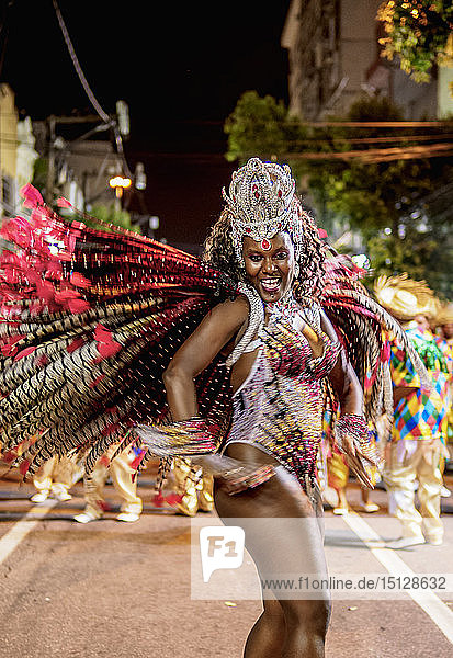 Samba Dancer at the Carnival Parade in Niteroi  State of Rio de Janeiro  Brazil  South America