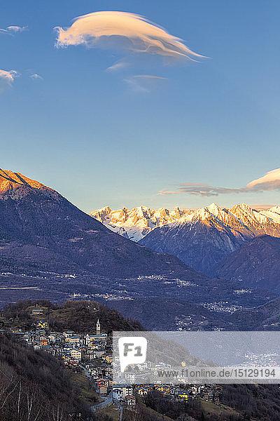 Sunset in the village  Sacco  Valgerola  Valtellina  Sondrio provinc  Lombardy  Italy  Europe