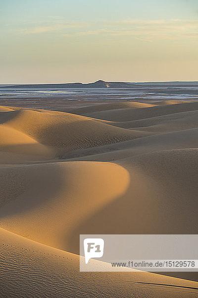 Sunset in the giant sand dunes of the Sahara Desert  Timimoun  western Algeria  North Africa  Africa