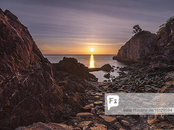 A colourful sunrise over Torbay with warm light on rocks  Babbacombe  Torquay  Devon  England  United Kingdom  Europe
