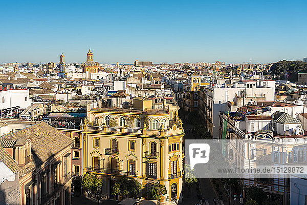 View of the historic center of Seville from the top of the Cathedral of Seville  Seville  Andalucia  Spain  Europe