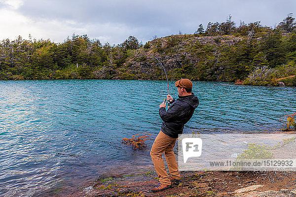 Fishing in Toro Lake  Patagonia  Chile  South America