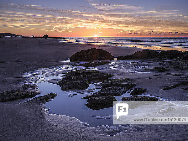 Sunrise on the shoreline with rocks and rock pools at Orcombe Point  Exmouth  Devon  England  United Kingdom  Europe